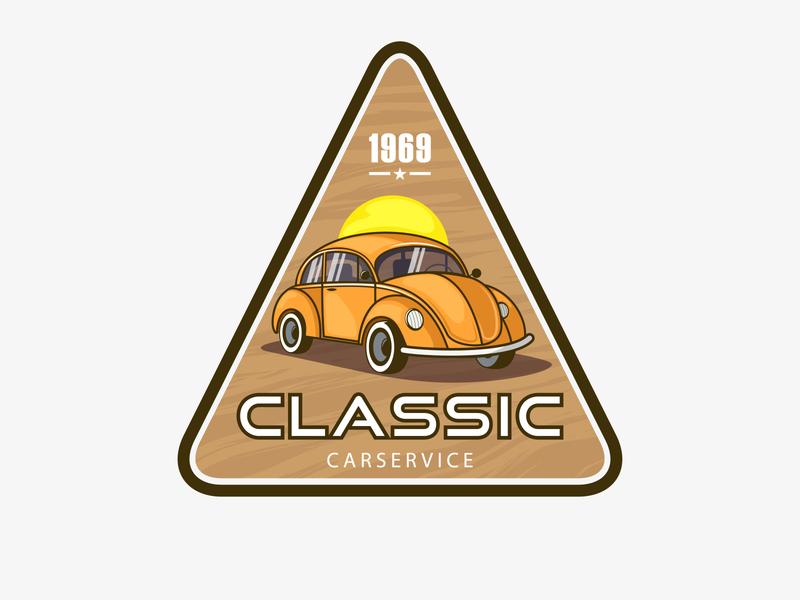 retro car 69 logo cartoon service car classic vw 69 retro old school concept old vector design illustration