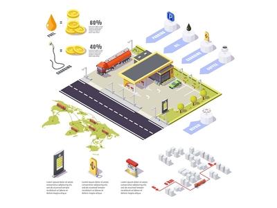 gas station infographics branding cartoon online design charging fuel infographics isometric web station gas concept illustration