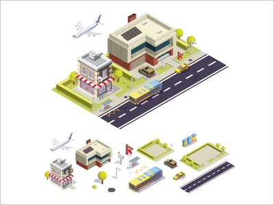 city roads car bus bar haus home cafe 3d ui ux logo isometric cartoon web concept design illustration