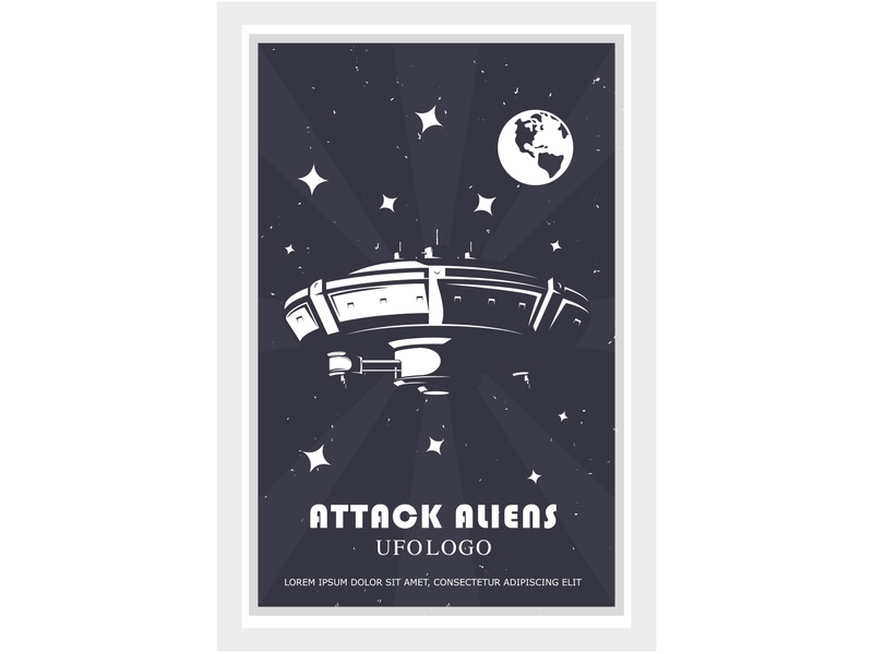 ufo attack logo extraterrestrial mind newcomers plates earth strangers attacks space ufos stranger aliens cartoon concept design illustration