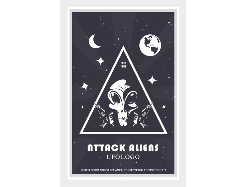 alien attack poster, humanoid face design in space backgrounds logo alien galaxy face cosmos comic attack aliens flat cartoon concept design illustration