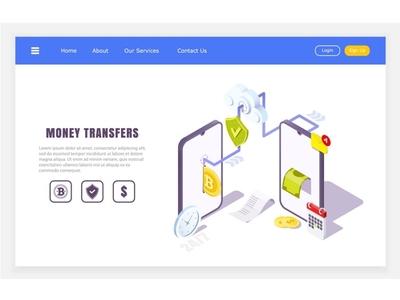 mobile transfers online application, isometric concept of finan ui ux logo online app isometric web concept design illustration