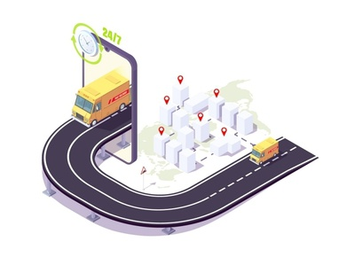 Isometric delivery, mobile application for ordering services of isometric design app web concept fast designs delivery service delivery truck delivery app deliver city cargo illustration