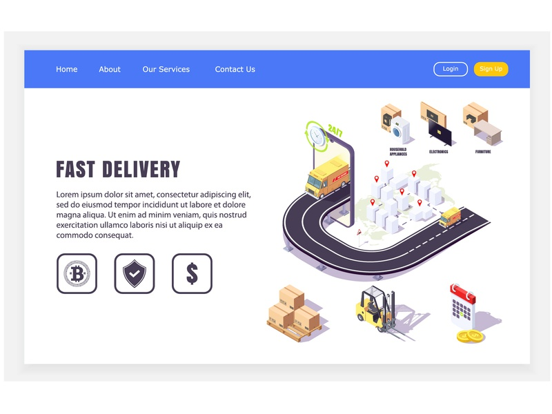 website of delivery 24 hours table washing machine cartoon fast 24 hours delivery online app isometric web concept design illustration