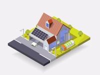 solar house vector isometric illustration