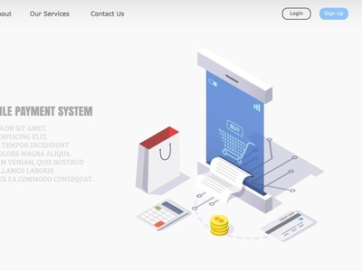vector illustration concept of online mobile payment system