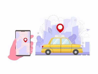 taxi call animation online flat cartoon web concept design icon vector illustration
