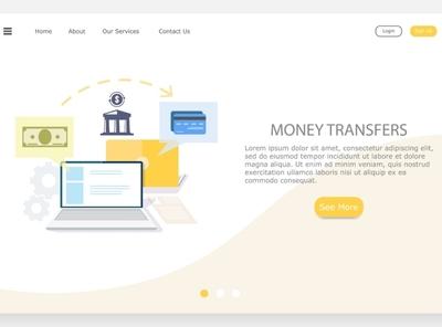 transfer money from computer online cartoon vector flat web app concept design icon illustration