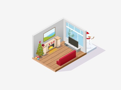 merry Christmas concept holidays winter house illustration fireplace house merry christmas isometric design vector illustration