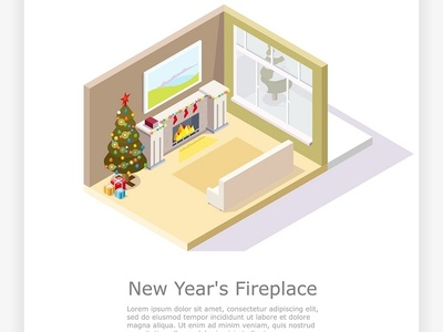 New Year s fireplace illustration vector trees merrychristmas merry design isometric illustrations icons home holiday fireplace fire designs december cartoon concept christmas cartoons