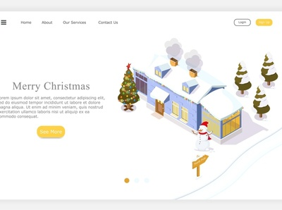 merry Christmas isometric cartoon web concept design vector illustration merrychristmas merry christmas merry christmas party christmas tree christmas