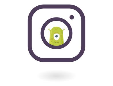 Instagram phone flat cartoon web concept design vector illustration aliens instagram icon instagram banner