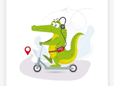 crocodile rides a scooter road stereo music scooter crocodile animation flat cartoon web concept design vector illustration