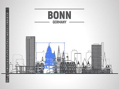 Bonn (Germany) vector line skyline illustration with landmarks illustrator design city logo turistic landmarks stroke skylines illustration vector skyline germany bonn