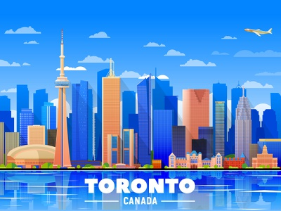 Toronto skline flat design city landmarks tower market creative illustration vector skyline canada toronto