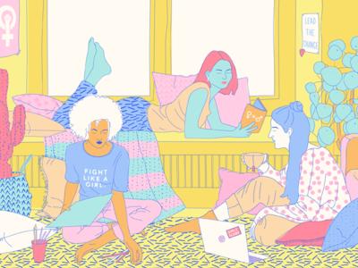 Girls' Globe cozy equality artist blogger volunteering pijamas plants art room illustration girl feminism