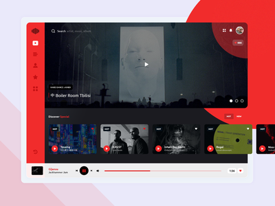 Dark mode - Music app UI/UX ux design ui design music player gura nicholson music theme dark theme dark mode red user experience user internface dark techno rave melody music uiux ui