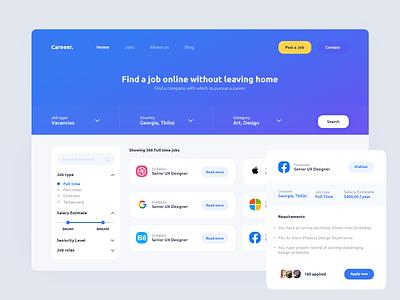 Vacancy - website contept app logo job jobs website design user interface design gura nicholson user interface uiux ui user experience