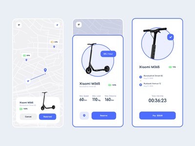 Electric Scooters rental app ui user interface user experience design uiux clean ui gura nichoolson rent scooter rental app real project mobile applications mobile application mobile app clean design future design scooters electric scooters