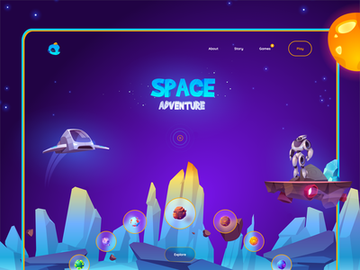 Space adventure - Web Concept Design 🎮 new ui trend ui 2020 guranicholson gurami chachua gura nicholson product design game product design play game cosmos ui cosmos game cosmos space character web character design game design game concept game website game