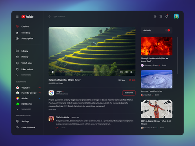 Youtube Redesign concept - Dark theme uiux website user experience user interface gura nicholson ubuntu black red green black and red redshift youtube social dark theme youtube dark theme youtube concept youtube redesigned redesign youtube redesign youtube