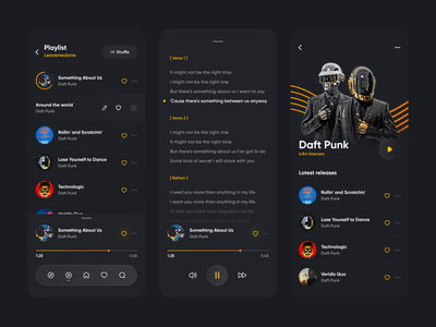 Daft Punk mobile design mobile app mobile ui 2021 ui trends ui uidesign music app ui daftpunk2021 guranicholson song lyrics lyrics songs playlist punk track music player app music player daft punk daftpunk