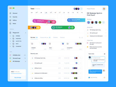 Multifunctional Dashboard app team workspace team files projects blue 2021 dashboard ux team chat chat workspace dashboard ui cloud storage tasks timeline gura nicholson user interface webdeisgn dashboad