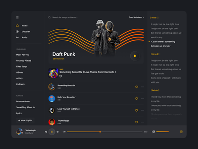 Daft Punk | Desktop user interface dark theme trends 2021 user interface trend yellow redesign webdesign web dark dark mode desktop gura nicholson apple music music app spotify music daft punk