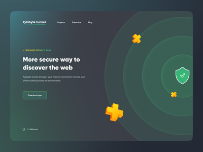 Trackers blocker  - VPN webdesign dark mode app 2021 dark theme real projects real project user experience user interface trending ui green gura nicholson trending landing page website vpn trackers blocker