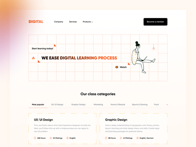 Online courses - Landing page website concept e learning 2021 gura nicholson landingpage saas landing page tutor education platform saas digital product ui ux design online courses online learning courses digital gradient red orange webdesign