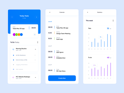 Task Manager - IOS App product design branding user experience widgets mobile dashboard dashboard stats colorfull clean smooth website design app design gura nicholson designui managment to do to dos tasks task manager