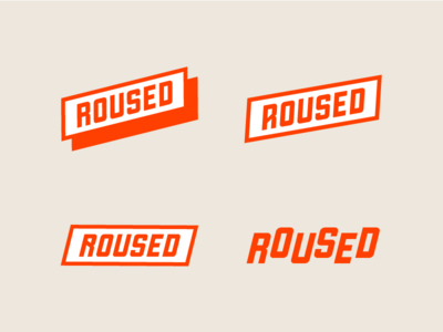 Roused Logo word mark typography women badass aggressive identity roused disrupt symbol mark branding logo