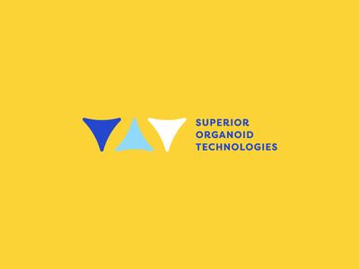 Superior Organoid Logo Concept therapy healthcare health triangles neurology brain symbol mark branding logo