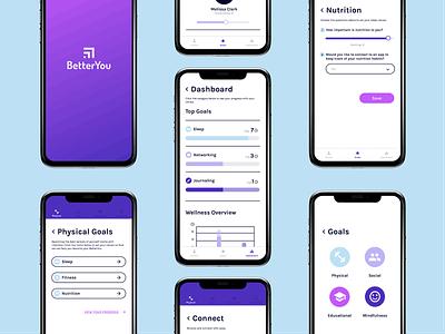 BetterYou App personal development logo brand design goals onboarding dashboard app design ux ui health digital wellness