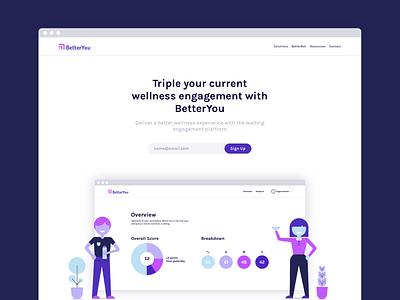 BetterYou Homepage digital wellness wellness health layout ux user interface design web design website web typography ui design illustration branding