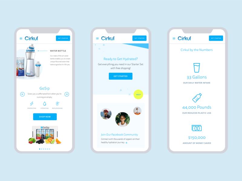 Cirkul Web Design water bottle drink health beverage responsive design website web ui mobile ui web design design ui