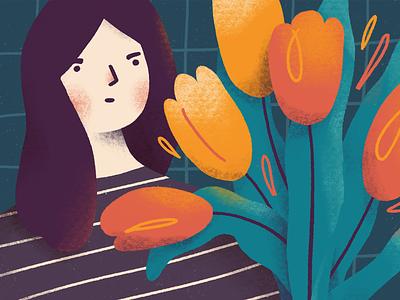 Tulips portrait flowers girl tulips botanical plants character procreate art digital art procreate illustration digital illustration
