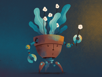 Flower pot robot
