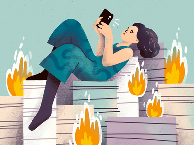 Procrastination phone magazine editorial illustration editorial character illustration girl papers work fire procrastination character procreate art digital art procreate illustration digital illustration