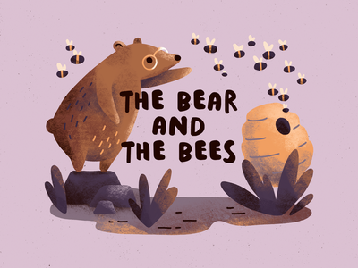 The bear and the bees fable kidlit art kidlit picture book beehive bee bear character design character procreate art digital art procreate illustration digital illustration
