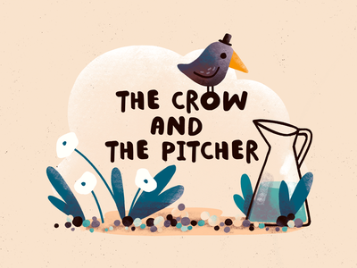 The crow and the pitcher fable picture book kidlit art kidlit pitcher crow character design character procreate art digital art procreate illustration digital illustration