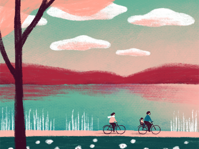 Spring ride nature spring clouds family bike ride lake bicycle character procreate art digital art procreate illustration digital illustration