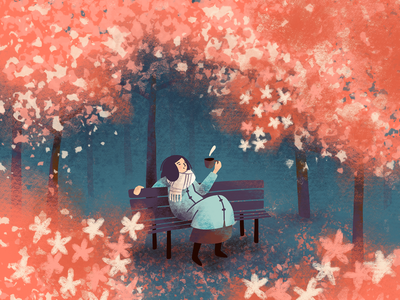 Cherry blossom park chilling girl coffee bench trees spring blossom cherry blossom cherry plants procreate illustration