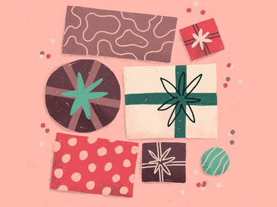 Gift boxes holidays christmas birthday boxes present gifts procreate illustration