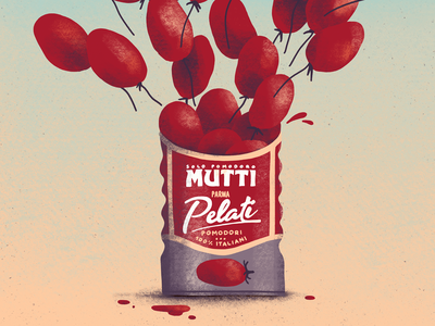 Mutti tomato food pomodoro canned tomatoes procreate illustration