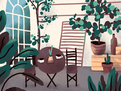 Greenhouse cafe pots fika coffee cozy table greenhouse cafe plants procreate illustration