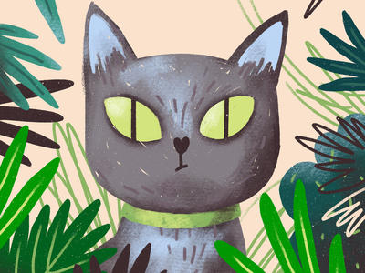 Cat eyes leaves plants green eyes cat procreate illustration