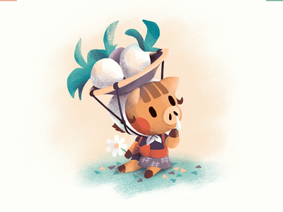 Daisy Mae acnh turnips pig fanart animal crossing daisy mae procreate illustration