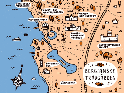 Bergianska map autumnal bergianska stockholm map design botanical garden map procreate illustration