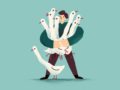 Geese hug character guy bouquet hug birds goose geese procreate illustration